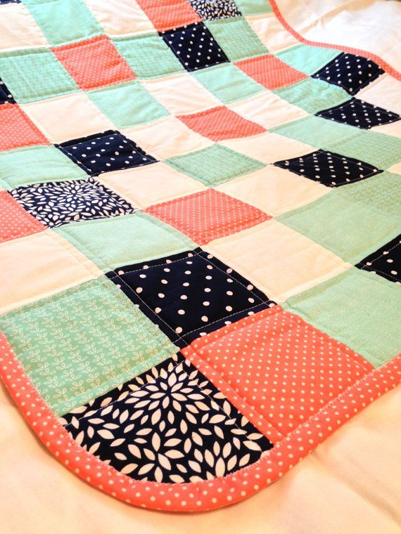 Coral Navy and Teal baby quilt by CraftyCrewX4 on Etsy