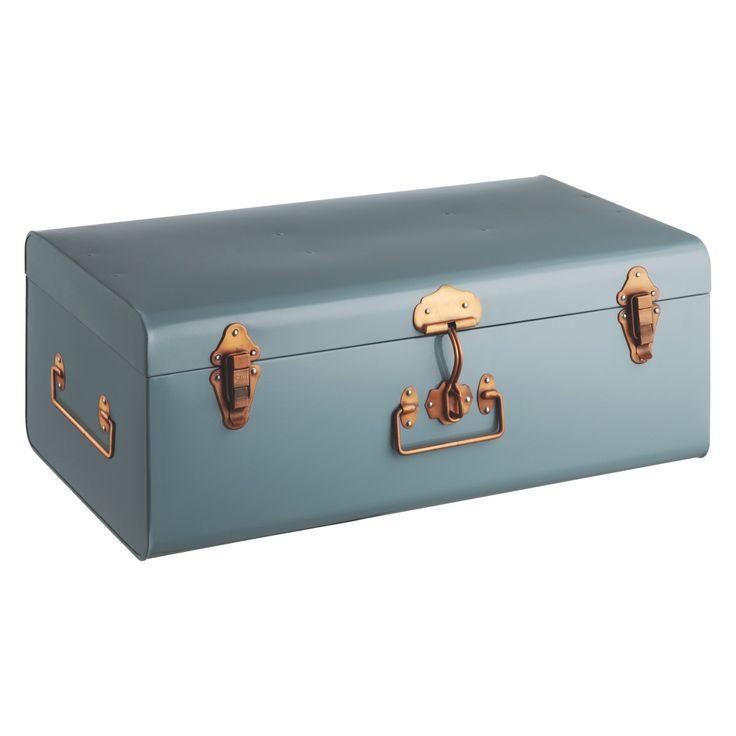 TRUNK Blue metal storage trunk | Buy now at Habitat UK