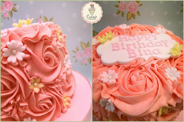 A pretty Pink Rose piped Cake in all Vanilla