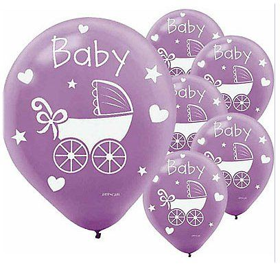 Purple Baby Shower Themes | Purple Baby Buggy Balloons - Baby Shower Accessories - The Perfect ...