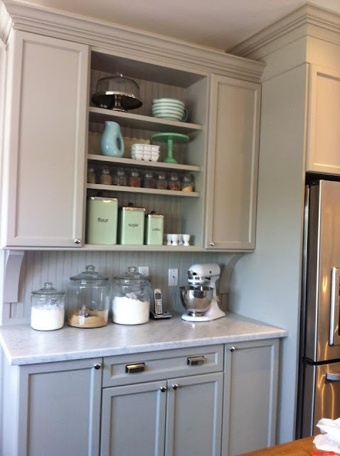 BAKING CENTER... for the butlers pantry #2 YES YES YES  gray baking center         just beachy blog