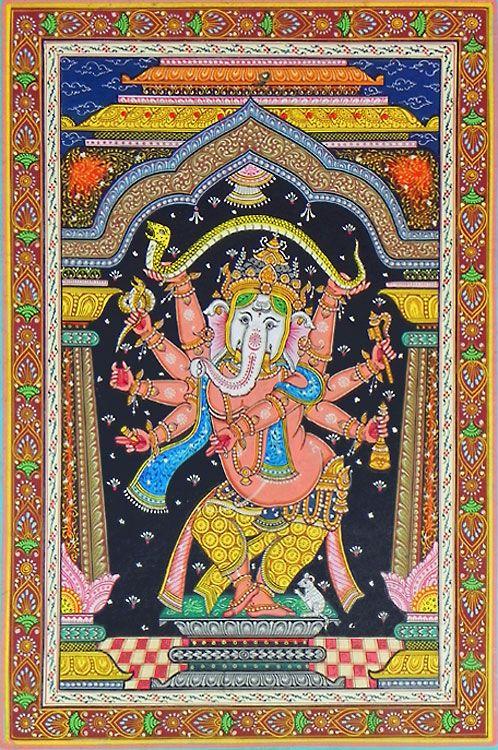 Eight Handed Ganesha (Orissa Paata Painting on Canvas - Unframed))