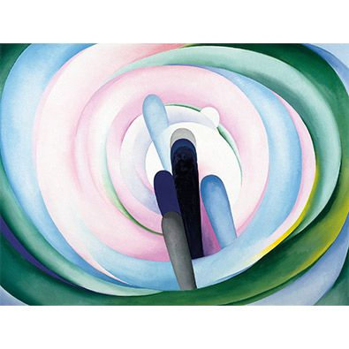 O'Keeffe: Grey Blue & Black, Pink Circle (custom print)