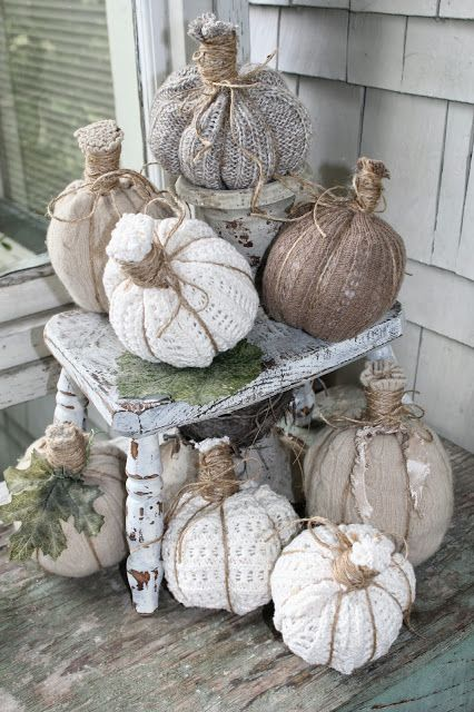 JOYWORKS. Love the unexpected texture of these sweater pumpkins. We're always looking for new twists on the fall pumpkin.