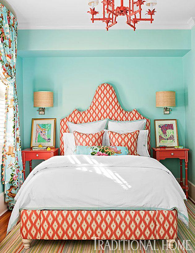 Dormitorio naranja y azul