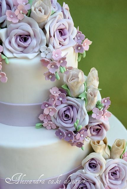 ALL ABOUT HONEYMOONS - Join our Facebook page!  https://www.facebook.com/AAHsf  Wedding Cake Ideas    Lavender Alessandra Cake