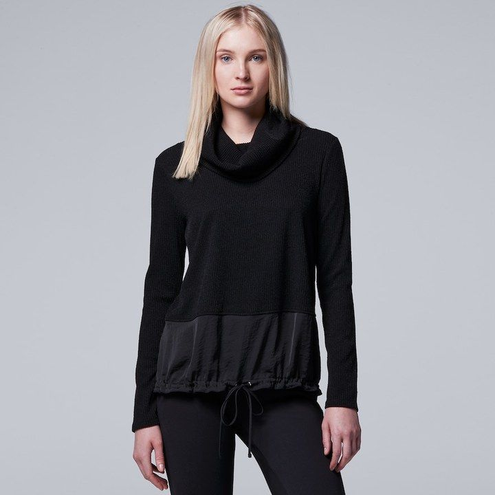 Simply Vera Vera Wang Women's Simply Vera Vera Wang Ribbed Cowlneck Sweater