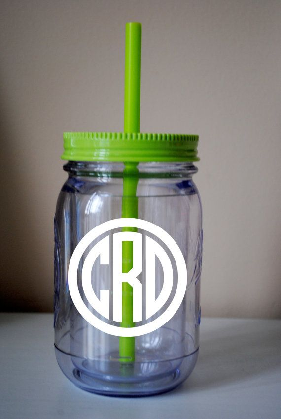 CIRCLE Monogram Mason Jar Cup With Straw / Available In Many Colors