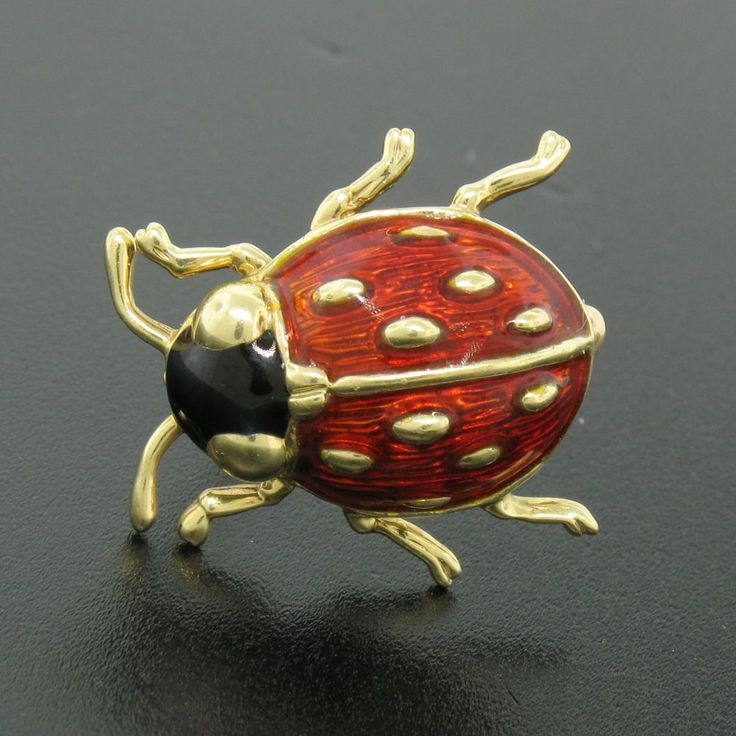 Estate Detailed 14k Solid Yellow Gold Black and Red Enamel Ladybug Brooch Pin #Unbranded