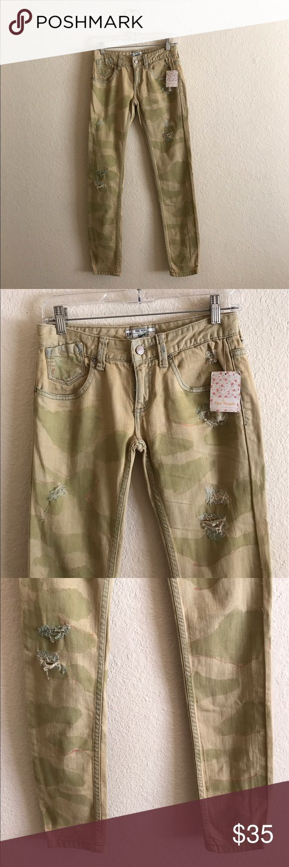 """NWT FREE PEOPLE women's Camo Skinny Jeans 24 New with Tags Free People women's Castro Camo Skinny Jeans.  Size: 24.  Inseam: 30"""". If you have any questions feel free to ask! Free People Jeans Skinny"""