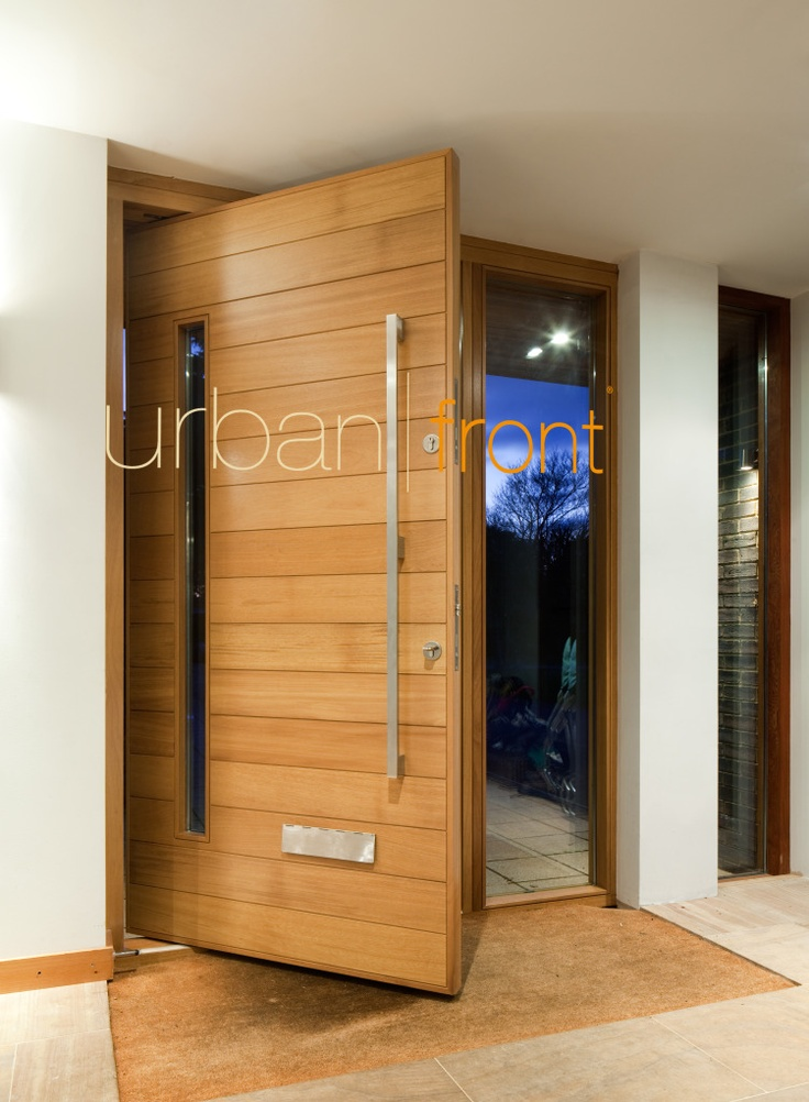 sorrento - a horizontally boarded door with a slim vision panel clear or sandblasted and stainless steel surround. See www.urbanfront.co.uk