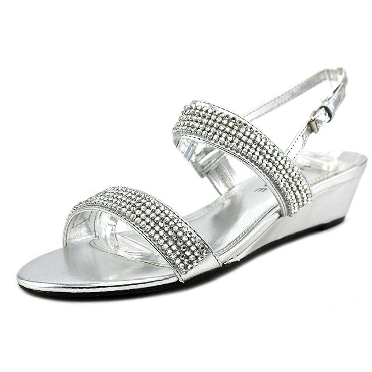amazoncom rampage srixy women us 65 silver wedge sandal clothing