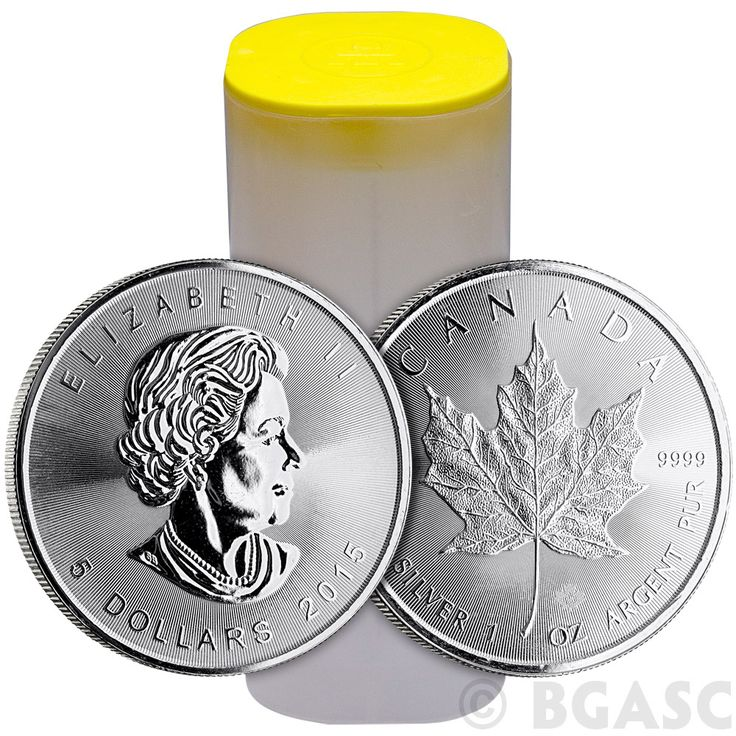 2015 1 oz Canadian Silver Maple Leafs Unopened 25-Coin Roll .9999 Fine Brilliant Uncirculated Bullion Coins: 2015 1 oz Canadian Silver…
