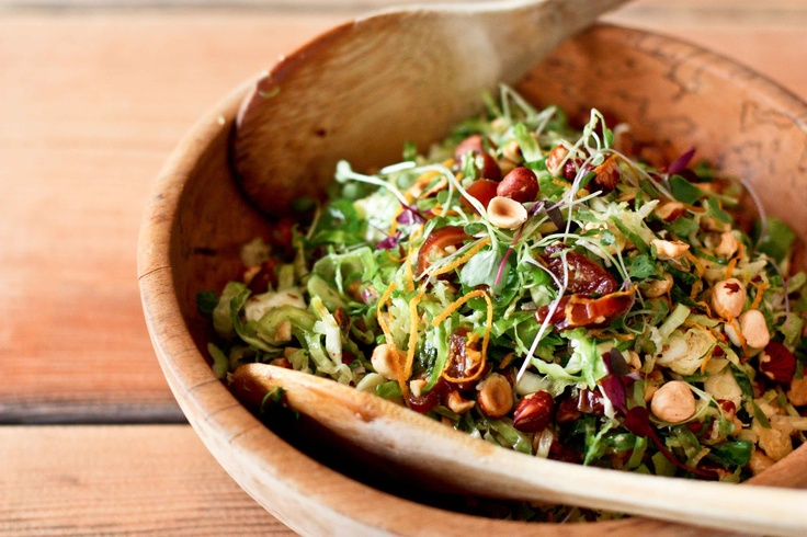 Brussel Slaw with Hazelnuts and Dates