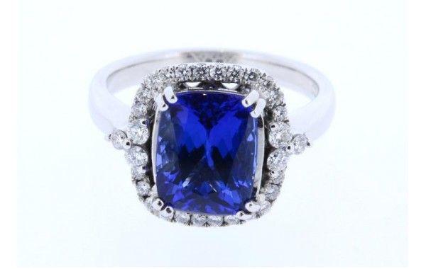 18ct white gold Tanzanite and diamond dress ring. Featuring a 3.49ct cushion cut Tanzanite.