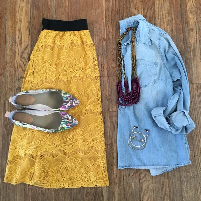 bybmg: What I Wore Wednesday: LuLaRoe Lace Mustard Skirt, Chambray Popover, Noonday Purple Necklace