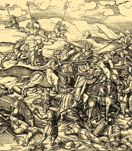 Beck Leonhardnak Miksa császár Weisskunigjához készitett rajza. Az eredeti fametszet-dúcznak a bécsi udvari műgyüjtemények évkönyveiben közzétett lenyomata