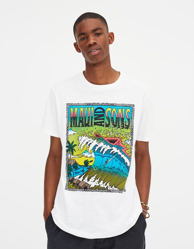 cbac17058 White Maui and Sons T-shirt - pull&bear   polo caballero in 2019 ...