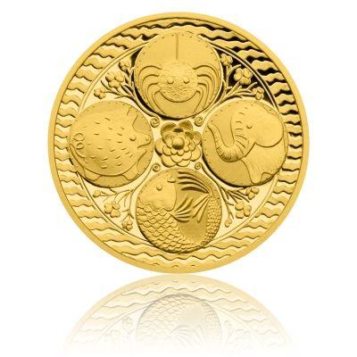 Zlatá čtvrtuncová medaile Rybičky pro štěstí proof | Česká mincovna
