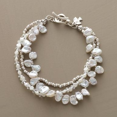 """Lumina Bracelet  Clear quartz and sterling silver light up cultured pearls. Handmade exclusive. Toggle clasp. 7-1/2""""L.  Read Our Product Story"""