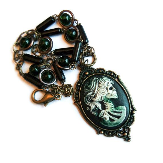 Zombie necklace, Cameo Necklace, Steampunk Necklace, Gothic Cameo Necklace, Skull cameo, Zombie cameo, Rotting ladycameo Necklace