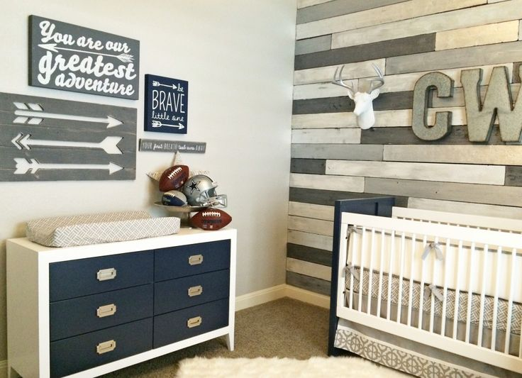 White and Navy Modern Crib and Dresser with modern arrow wall art - adorable nursery from @cadenlane!