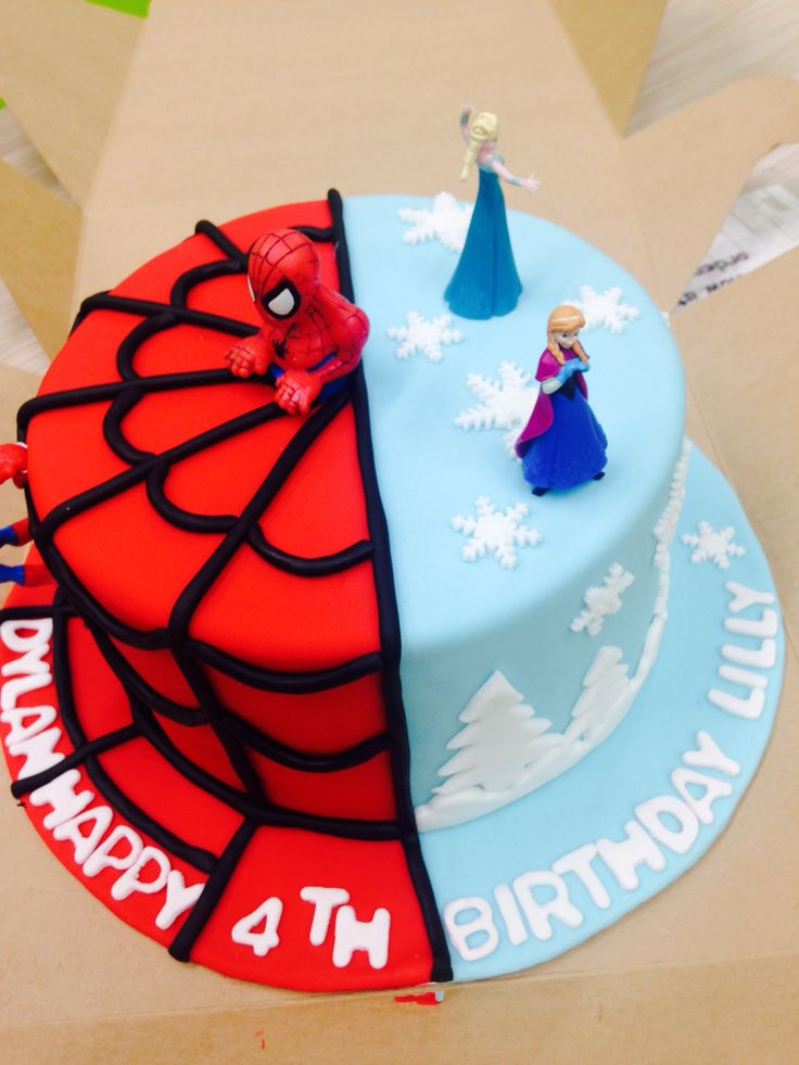 Frozen and spiderman cake for my 4 year old twins