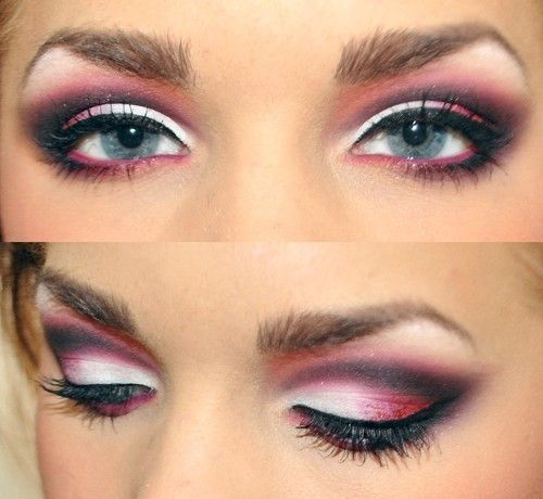 Red, black and white eye shadow