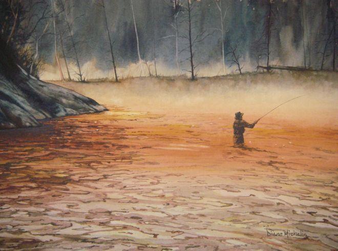 Solitude dianne michelin fly fishing fine art fly for Fly fishing art