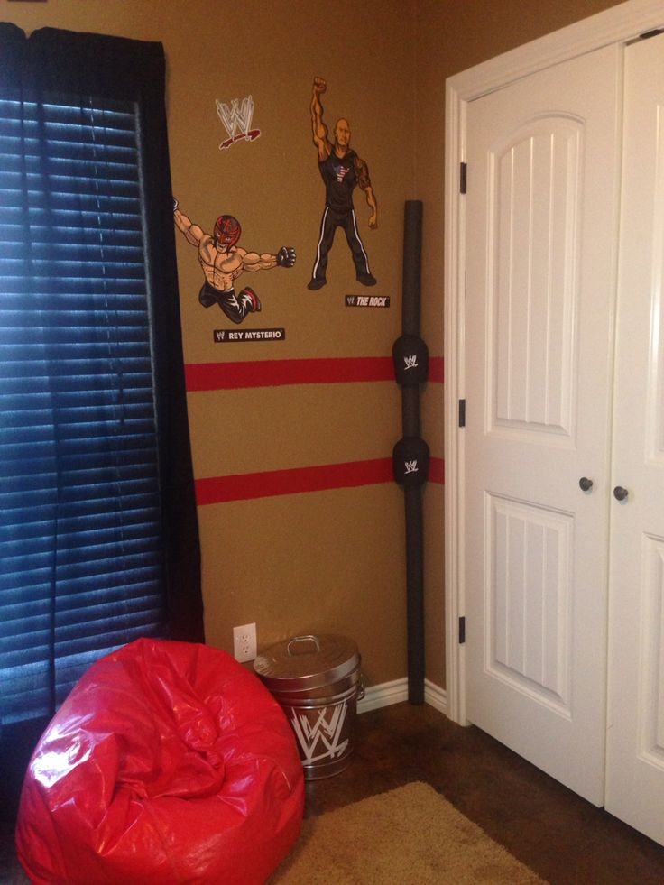 Hanku0027s WWE Bedroom Makeover   Painted Stripes For Ropes. Used Knee Pads  (home Depot