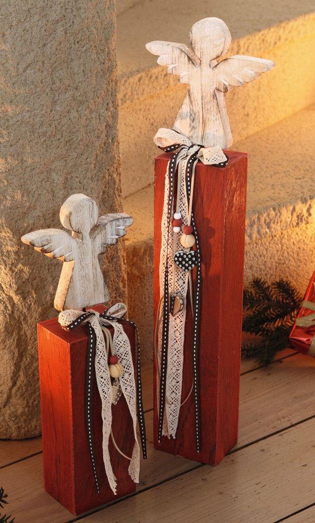 Deko und Accessoires für Weihnachten: Säule Engel 2er Set Holz-Säule lasiert made by EllasDekokrempel - Edelrost-deko-Artikel via DaWanda.com