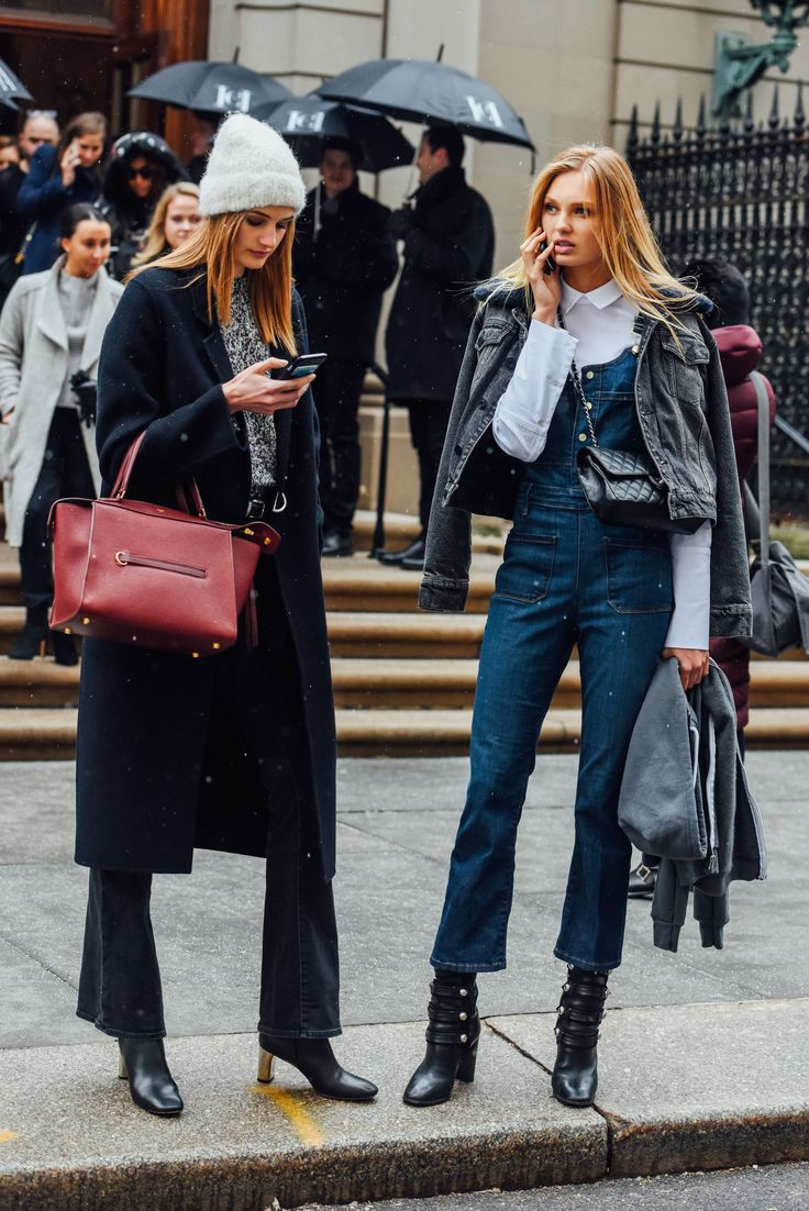 February 15, 2016  Tags Chanel, Denim, Boots, Overalls, Model Off Duty, Models, Cellphones, Coats, Hats, Bags, Knitwear, New York, Beanies, Romee Strijd, Céline, FW16 Women's, 2 People, Crowd, Sanne Vloet