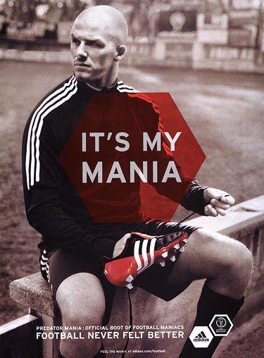 David Beckham in an advert Adidas Predator football boots