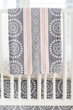 Harper in Coral Baby Bedding | Gray and Coral Blanket