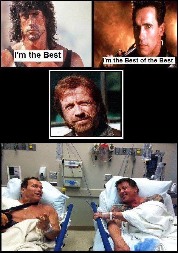 Rocky VS Arnold = Chuck Norris win Black humor