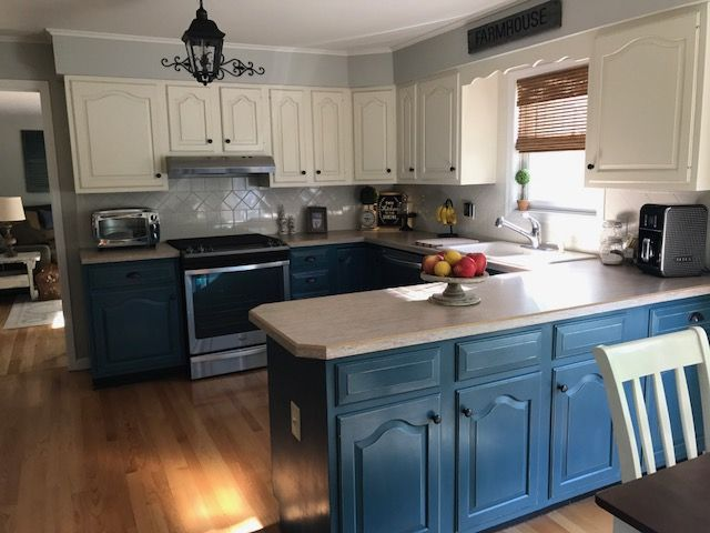 Blue Painted Kitchen Cabinets best 25+ chalk paint kitchen cabinets ideas on pinterest | chalk