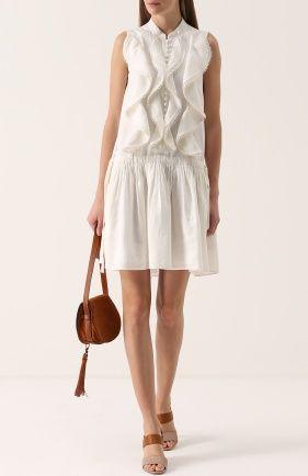 Льняное мини-платье без рукавов с оборками