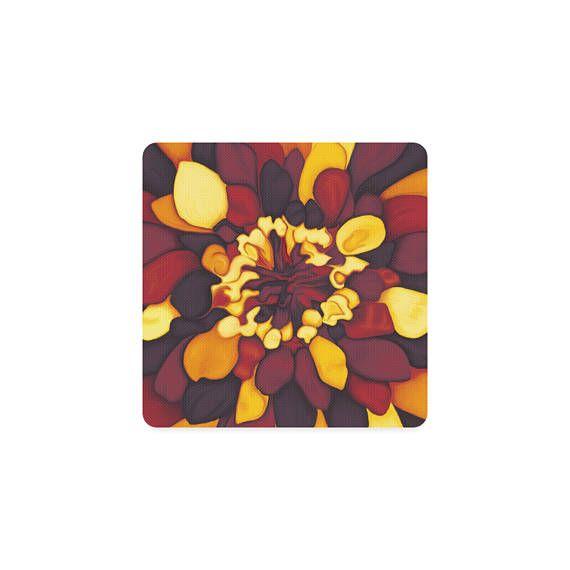 Dessous de verre fleuri  couleurs d'automne  peinture