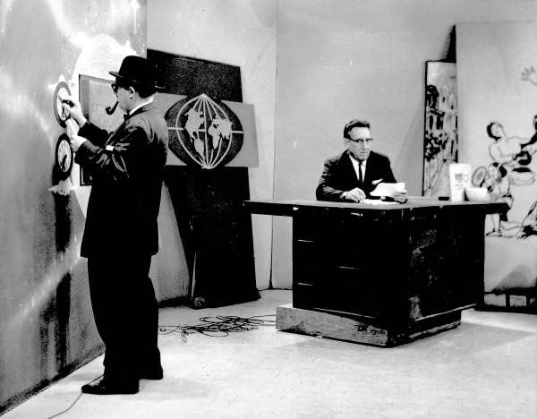 """Staff of """"Good Morning"""" show on WCTV, Tallahassee, Florida, 1955. """"Willie the Weatherman"""" William Ragsdale standing, with anchorman Frank Pepper seated."""