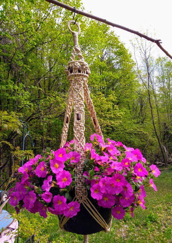 Macrame Plant Hanger Large Flower Pot Holder Indoor Outdoor Oriental Style Handcrafted Hanging
