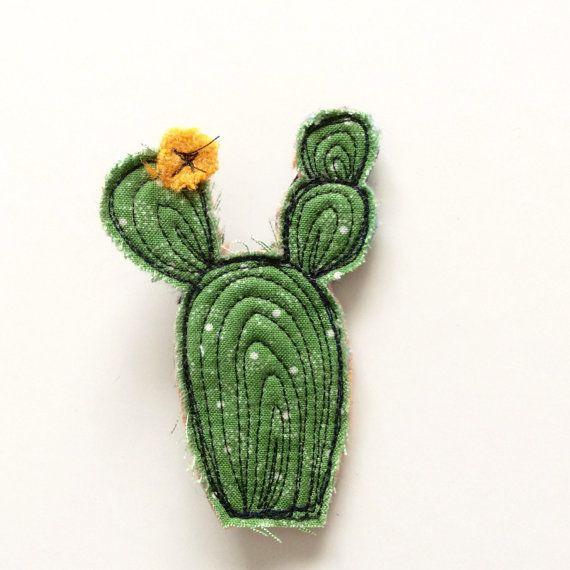 Thread drawn cactus brooch