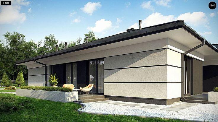 Проект ститьного одноэтажного дома с просторной террасой и с гаражом на два автомобиля S3-186-5 (Z378). Визаулизация 6. Shop-project