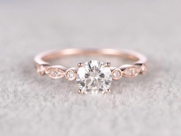 brilliant Moissanite Engagement ring Rose gold,Moissanite wedding band,14k,5mm Round Cut,Gemstone Promise Bridal Ring,Anniversary,Art Deco  – Wedding