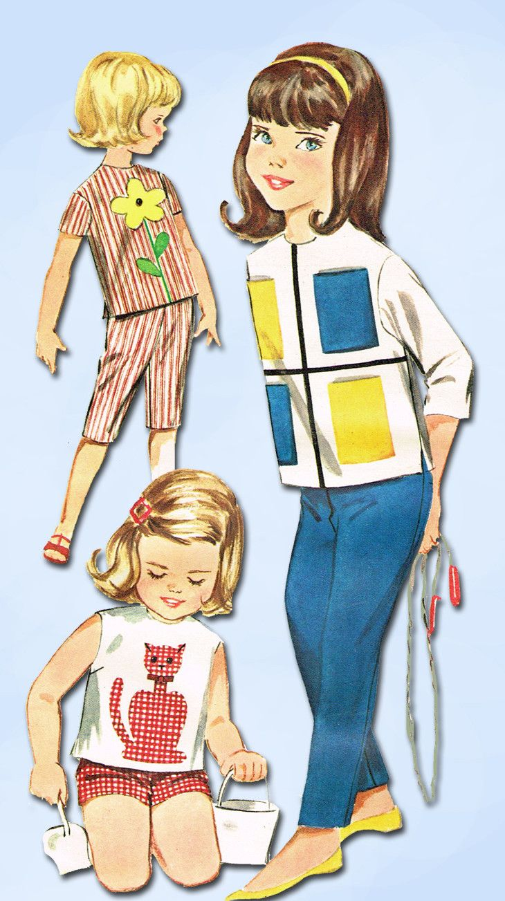 1960s Vintage Butterick Sewing Pattern 2301 Toddler Girls Applique Top & Pants 6