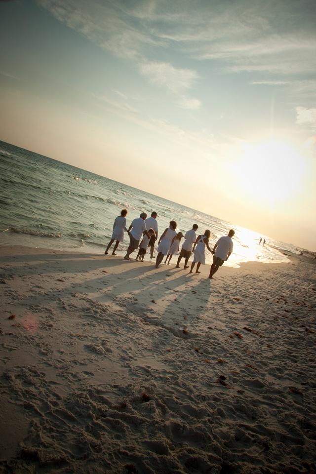 :0) Great~Beach Family Photo after a beach wedding.