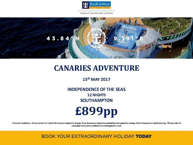 @RoyalCaribbean CruiseMuse Cruise Holidays 12ngt! dep 15th May (late deal) just £899pp!! book today call us 0800 975 7584 #lovemycruiseexpert