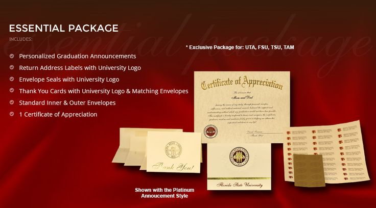 The Essential Package for UTA, FSU, TSU, TAM. Select your school from our website below for more information. http://college-graduation-announcements.signaturea.com/index.php?page=bookstore_index