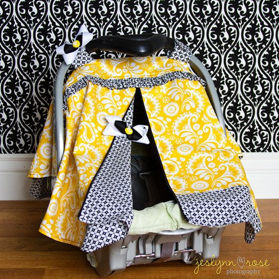car seat canopy yellow paisley with black and white. Black Bedroom Furniture Sets. Home Design Ideas