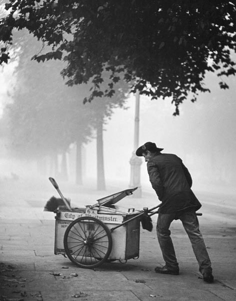Street cleaner, Westminster, 1934.