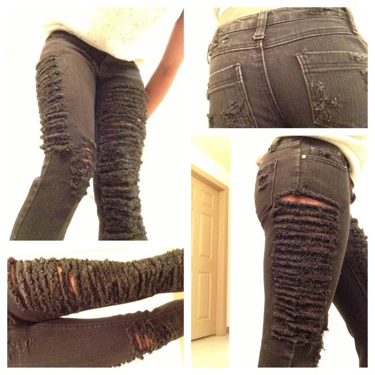 die besten 25 diy destroyed jeans ideen auf pinterest angesagte mode blusen c a und how to. Black Bedroom Furniture Sets. Home Design Ideas